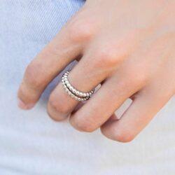 anillo bolitas - anillo bolitas circonitas