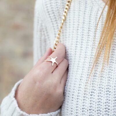 Anillo estrella mar plata